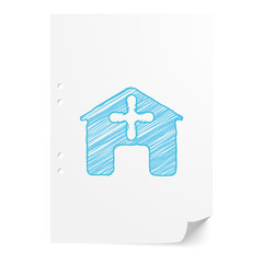 Blue handdrawn Hospital illustration on white paper sheet with c