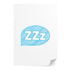 Blue handdrawn Sleep illustration on white paper sheet with copy
