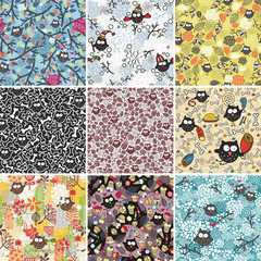 Big set of seamless patterns with cute owls.