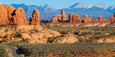 Grand view of Arches National Park and the La Sal Mountains near Moab, Utah