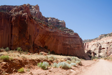 Road through the famous Grand Wash in Capitol Reef National Park in Utah