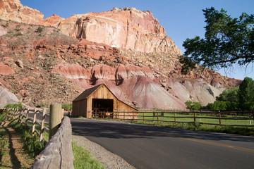 Historic barn in Fruita, Utah, greets visitors entering Capitol Reef National Park