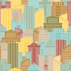 Urban seamless pattern. Colorful buildings in city, metropolis.
