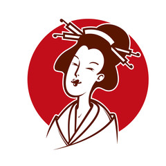 Vector illustration  of japanese woman, emblem or logo template