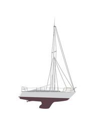 Water Boat, Sailboat. Vector Illustration.
