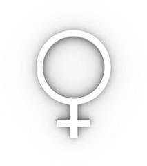 Female gender symbol in white. High quality 3D illustration.