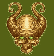 Vector image of skull with horns like a tattoo on a green background.
