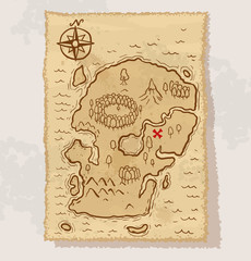 Vector pirate treasure map on a gray background.
