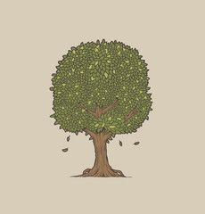 Vector tree with leaves on a gray background.
