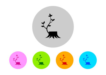 Colorful stump icons on white background
