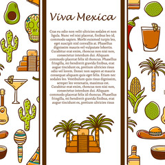 Vector travel mexican concept with hand drawn objects and