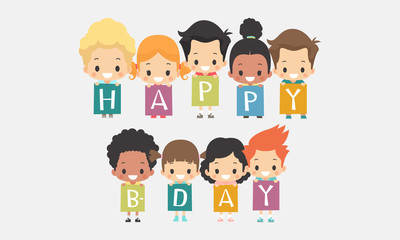 Illustration of cute little kids holding up blocks that spell out the words happy birthday