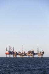 Offshore oil platform at sunny day