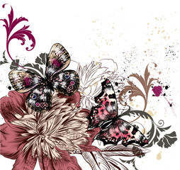Illustration with colorful butterflies and peony flowers, grunge