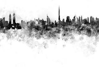 Dubai skyline in black watercolor