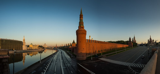 Wide panorama view of  Moscow Kremlin, Russia