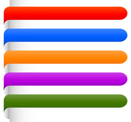 Banner, bookmark backgrounds vector from edge of a page. Colourf