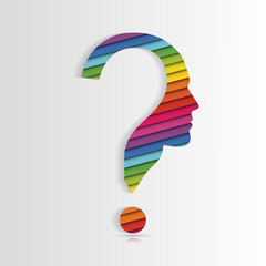Human face with question mark. Vector illustration