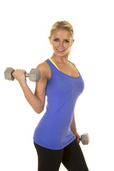 blond woman blue fitness tank curl smile