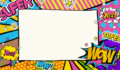 Pop Art background.Advertising poster.Pop Art frame for place for text.