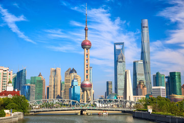 Shanghai skyline with historical Waibaidu bridge, China Wall mural