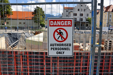 DANGER - sign at construction