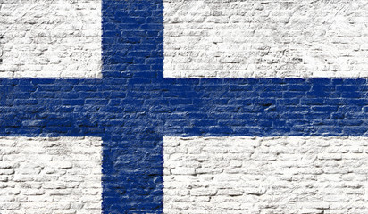 Finland - National flag on Brick wall