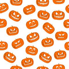 Seamless pattern on the theme of Halloween, wrapping paper, jack-o'-lantern pumpkin