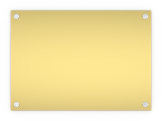 Blank gold rectangle sign plaque isolated on a white background.