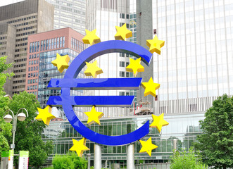 Euro sign in front of ECB.