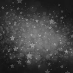 stars at night background design, white bokeh lights and stars on black background