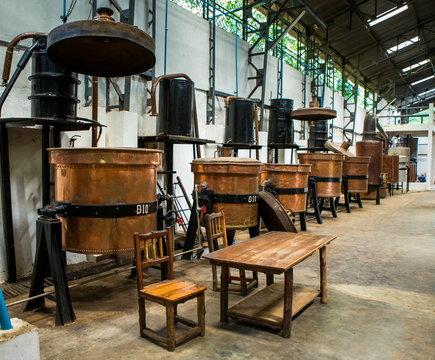 Copper tank factory processing Ylang Ylang. Madagascar.