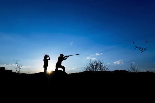 Hunter silhouette - stock Image
