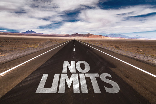 No Limits written on desert road
