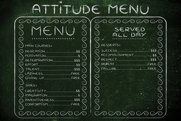 humorous menu with possible attitudes choices and the effort (or