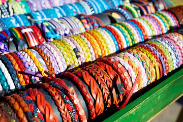 Bracelets of leather in colorful colors hand crafted