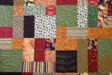autumn patchwork quilt background Fototapete