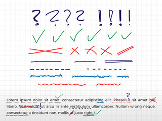 Text correction elements. Hand drawn. Vector.