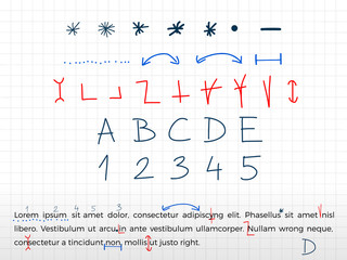 Hand drawn text correction elements. Vector.
