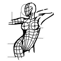 Aestetic surgery, female body, vector art