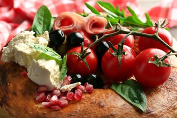 Ingredients of Mediterranean cuisine, on wooden background