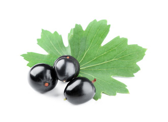 Heap of wild black currant with green leaves isolated on white