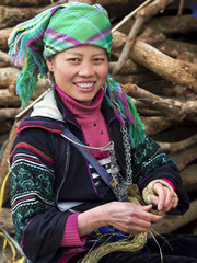Happy Hmong Woman Dressed in Traditional Attire in Sapa, Lao Chai Province, Vietnam