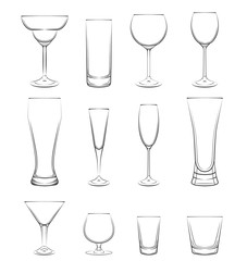 Various Cocktail Glasses Set.