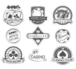 Casino and Poker Lables Set. Vector Illustration