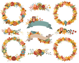 Autumn Wreaths and Fall Floral Design Elements Vector Set