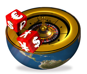roulette and throwing of dice with symbols international coins