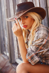 Cowgirl in hat