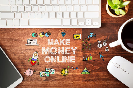 Make Money Online concept with workstation