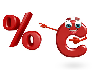 Cartoon Character of alphabet C with percentage sign